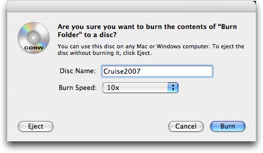 Burn Folder: Burning a CDRW on Apple Mac OS X