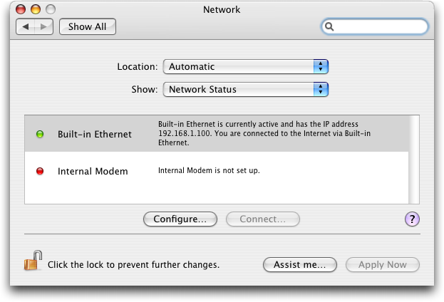 Mac OS X: System Preferences: Network