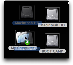 Dragging hard disk icons into a folder in Mac OS X