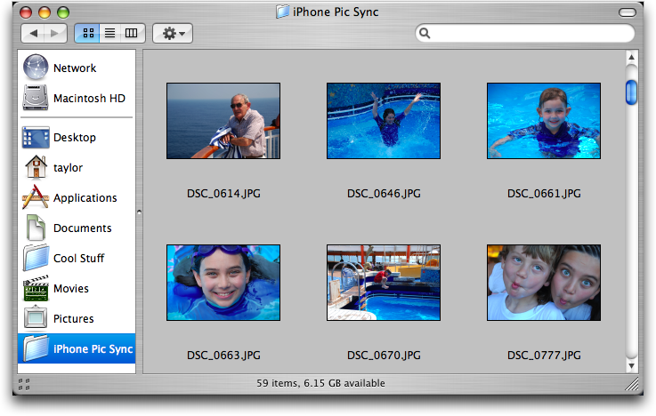 Mac OS X Finder: iPhone Pic Sync folder
