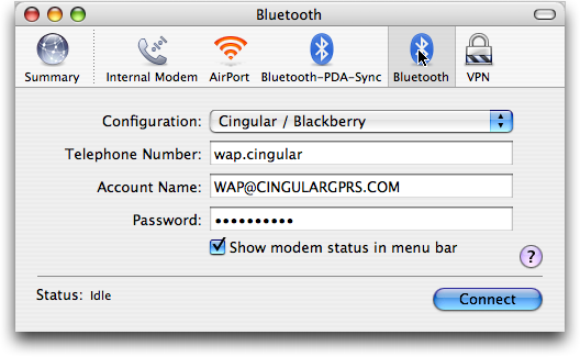How do I use my Blackberry Pearl as a bluetooth modem with a