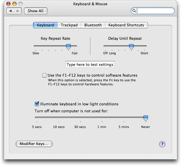 Mac OS X: System Preferences: Keyboard and Mouse (Trackpad)
