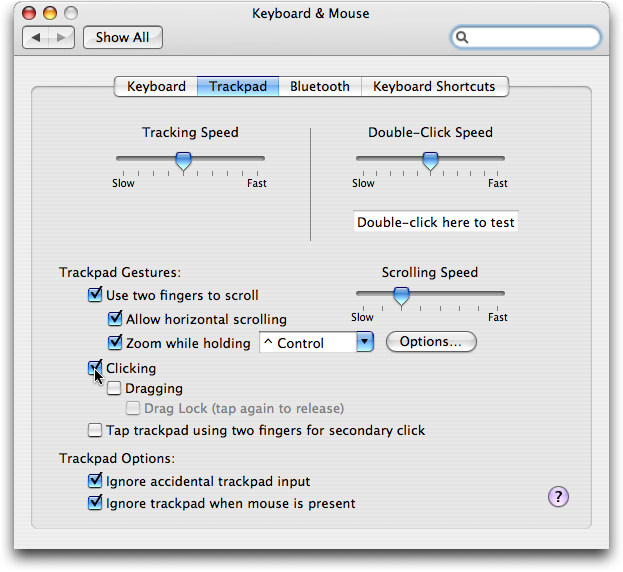 Mac OS X: System Preferences: Keyboard and Mouse: Trackpad