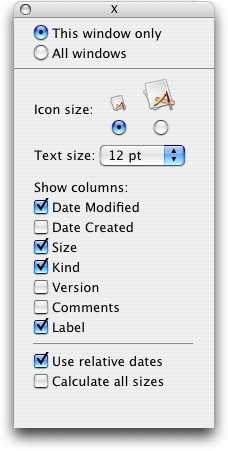 Mac OS X Show View Options in the Finder
