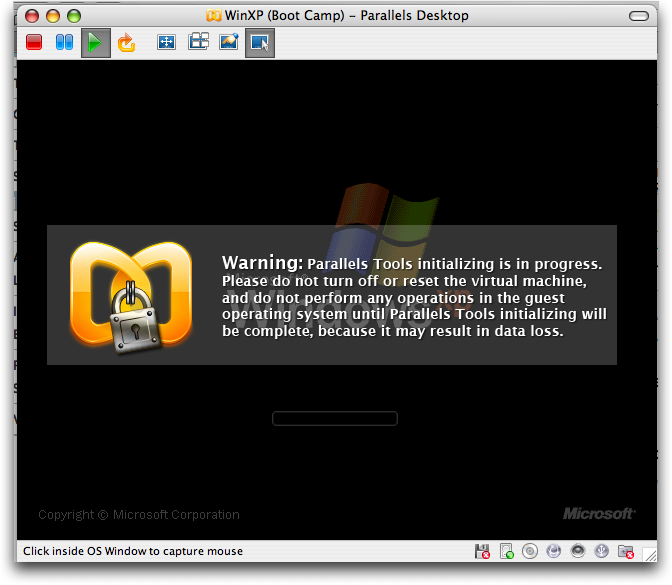 Mac Parallels: WinXP: Initializing Parallels Tools