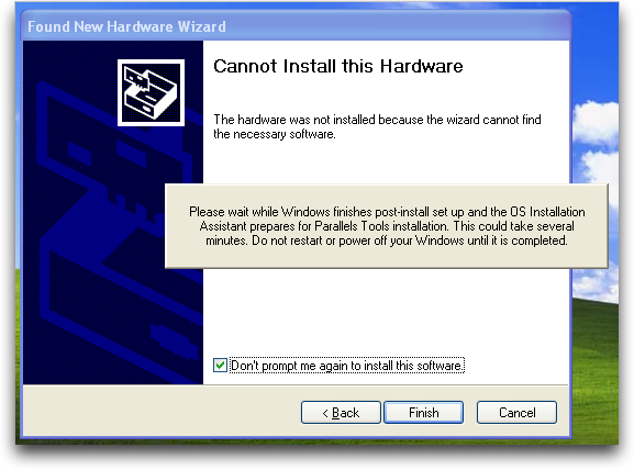 Mac Parallels: Windows XP: Couldn't Install Drivers Post-Install