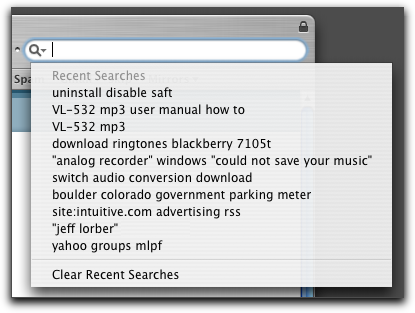 Mac OS X Apple Safari Browser: Google search box history cache