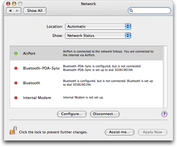 Mac OS X: System Preferences: Network: Network Status