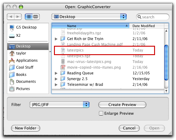 Mac OS X Virus: GraphicConverter trying to open latestpics / Leap.A worm