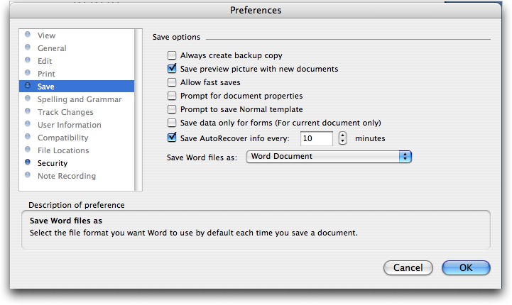 Setting a document password in Microsoft Word for Mac OS X