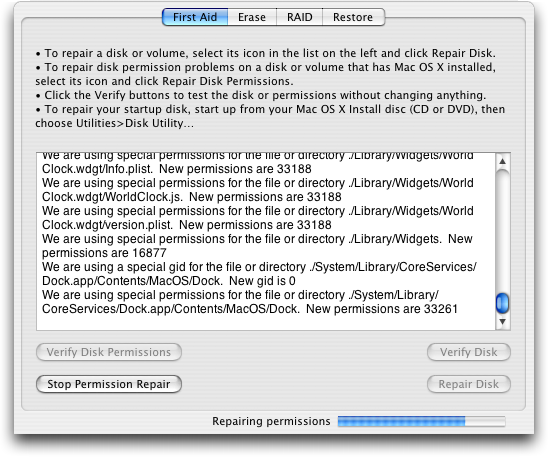 Mac OS X: Disk Utility: In Progress
