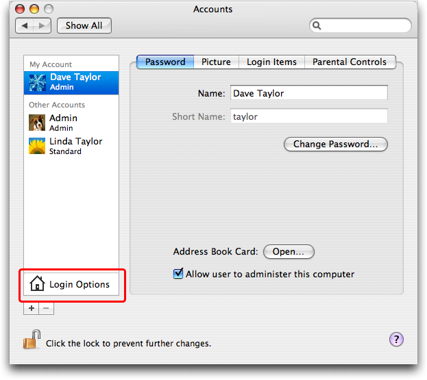 How do i change the owners name on my mac ask dave taylor mac os x system preferences accounts ccuart Choice Image