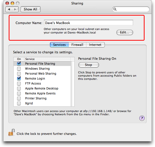 Mac OS X: System Preferences: Sharing