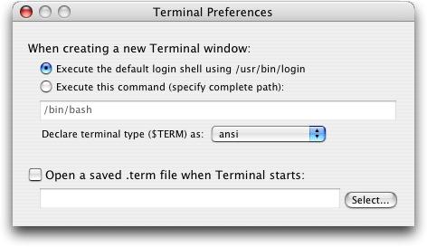 Mac OS X Panther Terminal Application Preferences
