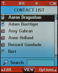 Motorola RAZR v3c: Contact List