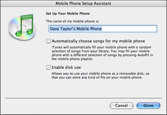 Motorola SLVR: iTunes Mobile Phone Setup Assistant