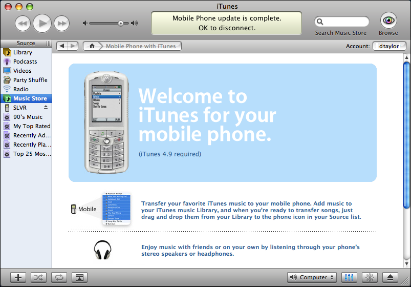 Motorola SLVR: Welcome to iTunes for your Mobile Phone