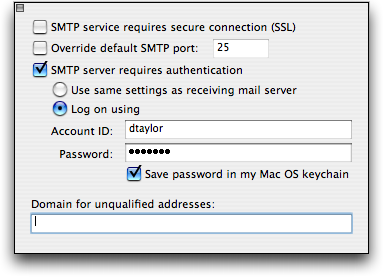 Microsoft Entourage for Mac OS X: SMTP security settings
