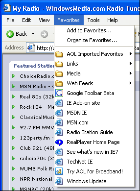 MS Internet Explorer (MSIE) Favorites