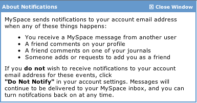 MySpace: Help Information for Notifications Setting