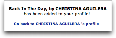 MySpace: Christina Aguilera: Added Song to Profile