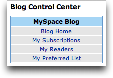 MySpace Blog Control Center