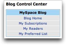 MySpace Blog Control Center