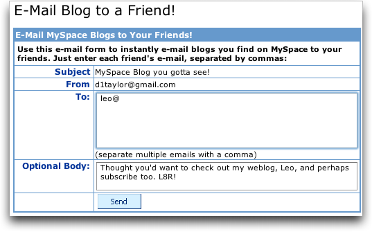 Dave Taylor's MySpace Blog: Invite a Friend