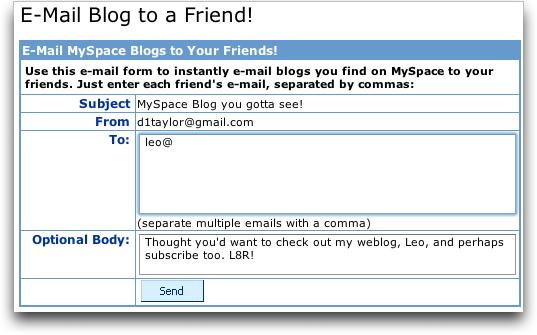 Dave Taylor's MySpace Blog: Invite a Friend