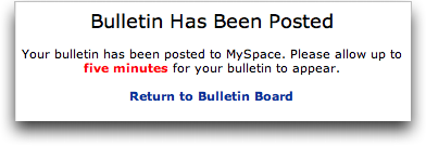 MySpace: Bulletin Posted