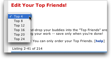 Change How Many Top Friends in your MySpace Profile Are Shown