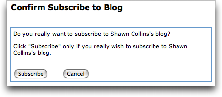 Confirm your subscription to a MySpace Blog