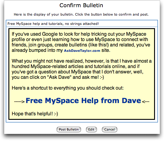 Confirm Bulletin at MySpace / MySpace Bulletin
