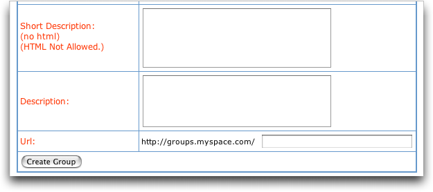 MySpace: Create New MySpace Group #3