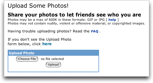 MySpace: Create New MySpace Group: Upload Photos!