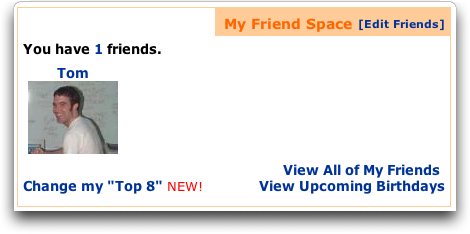 MySpace: Tom is my default friend?
