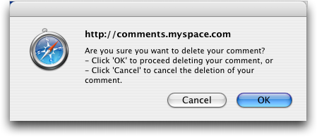 MySpace: Are you sure you want to delete this MySpace comment?