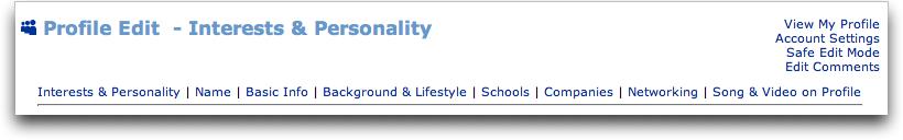 MySpace Edit Profile Menu Options