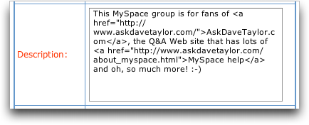 MySpace Groups: Group Description