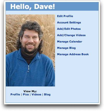 MySpace: Home photo menu options