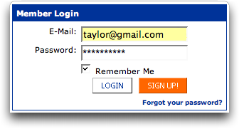 MySpace: Account Login Box from Home Page