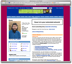 Dave's MySpace Profile, with a Magenta background