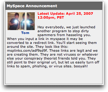 MySpace new service: link redirects with msplinks.com