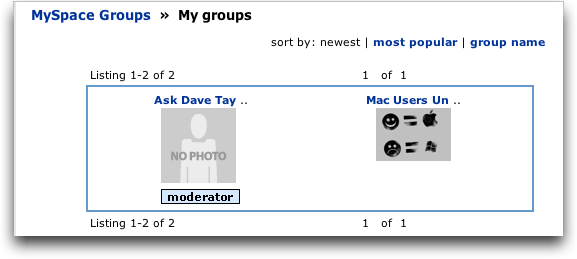 MySpace: My Groups