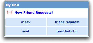 MySpace: Inbox / Mailbox / Friend Requests / Post Bulletin