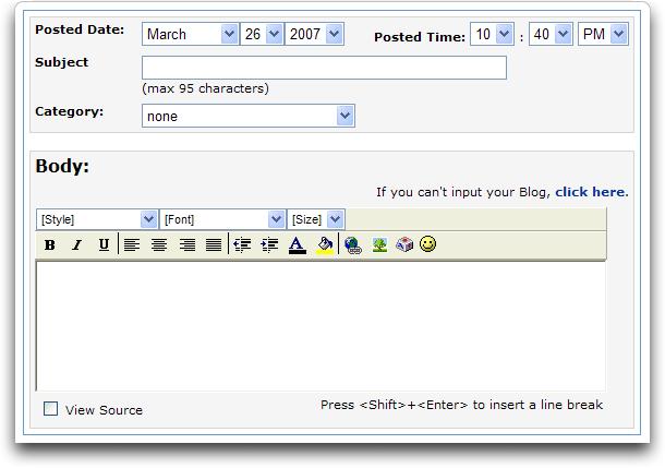 MySpace new blog entry