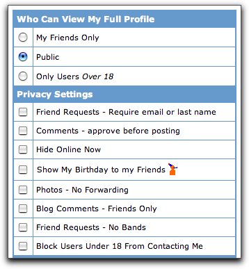 MySpace Account: Privacy Settings