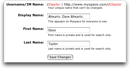 MySpace Name: How to Add Symbols