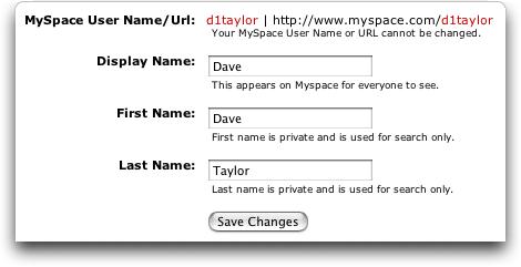 Edit MySpace Profile Name