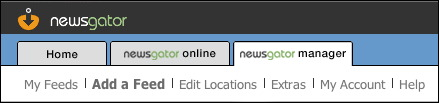 Main tabs in the Newsgator Online application